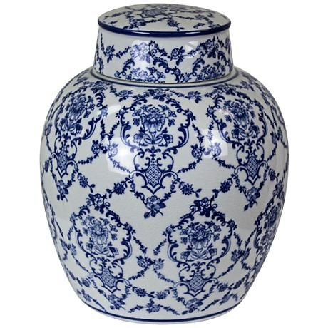 This beautiful fresh blue and white round covered jar adds a touch of Chinoiserie to any style of decor in any room in the home.