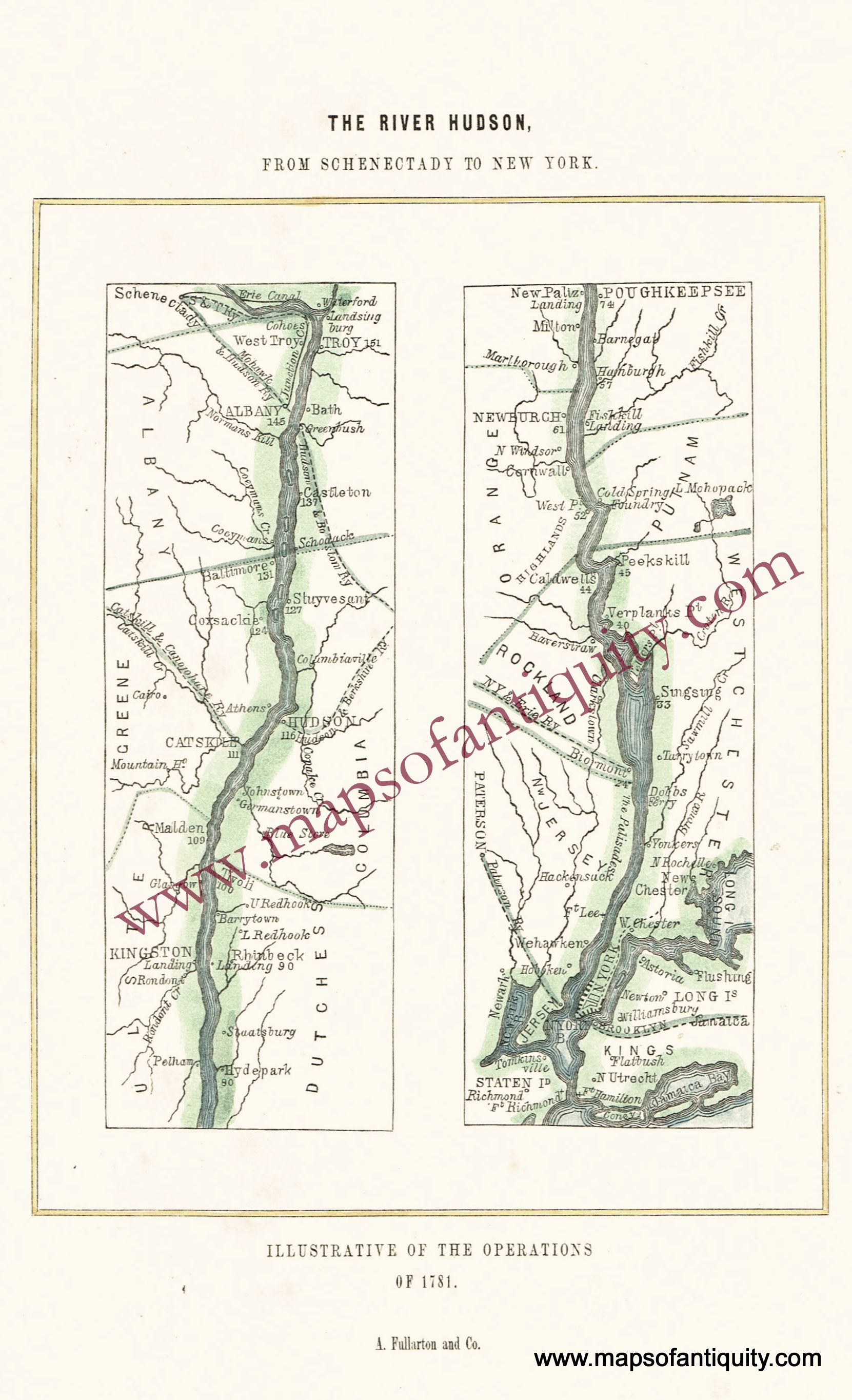 Schenectady New York Map.The River Hudson From Schenectady To New York Illustrative Of The
