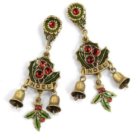 Christmas Earrings, Holly Earrings, Sweet Romance, Bell Earrings
