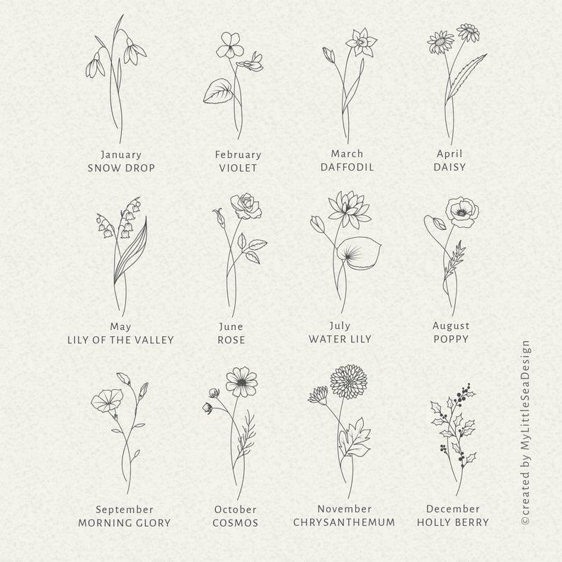Birth Month Flowers SVG Bundle - Floral Svg Clip A