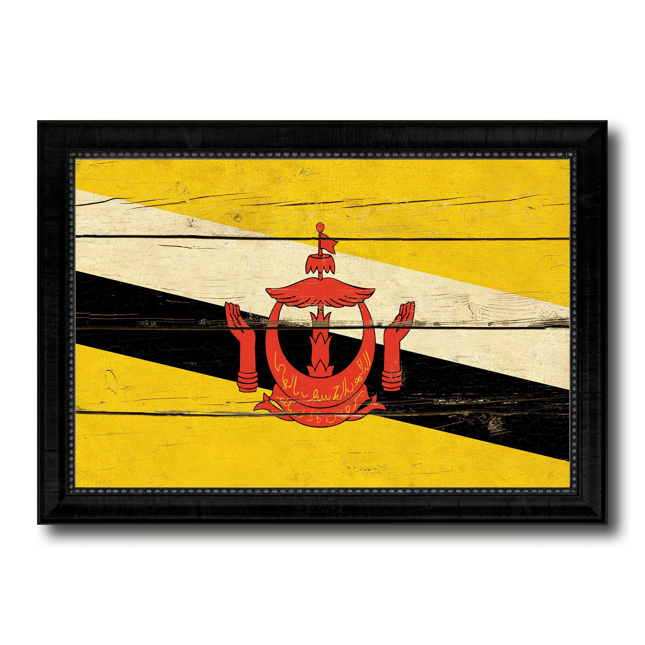 Brunei Country Flag Vintage Canvas Print with Black Picture Frame ...