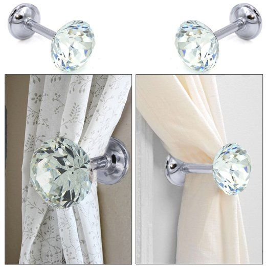 Amazon Com Sumnacon 2 Pieces Crystal Curtain Hold Backs Window