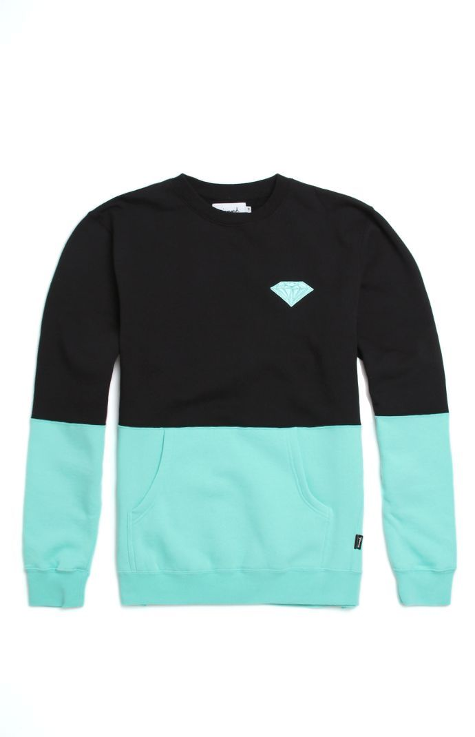 7681cb5bd3bc9a PacSun presents the Diamond Supply Co. Brilliant Split Crew Fleece for men.  This two tone men s crew fleece supplies a soft interior fleece
