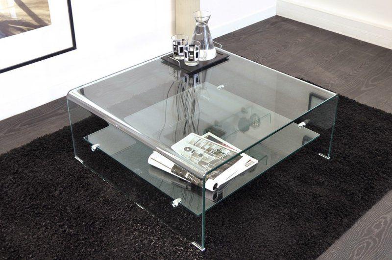 Wave Table Basse Carree En Verre Double Plateau 80x80 Cm Table