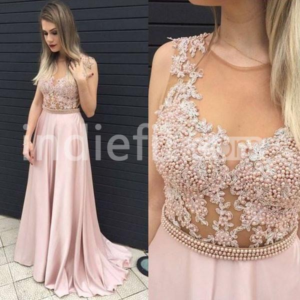 Pearls Appliques A-line Prom Dresses 2017