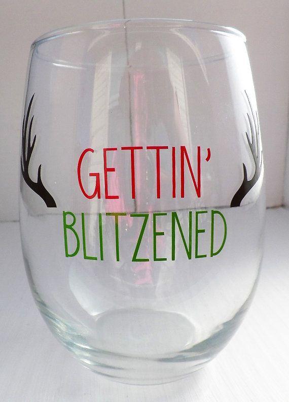 Funny Christmas Gifts For Her Part - 20: Gettinu0027 Blitzened Wine Glass, Christmas Wine Glasses, Secret Santa Gift  Ideas, White
