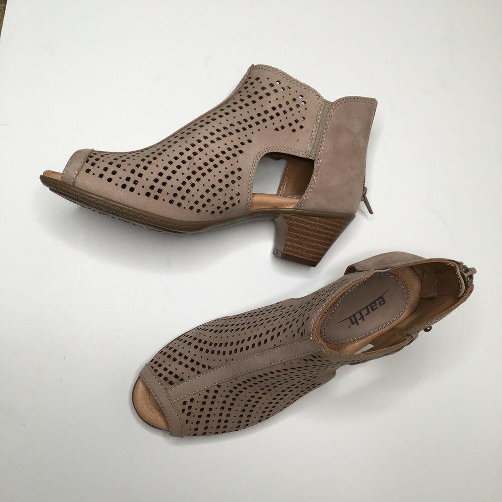 Earth Keri Taupe Nubuck Perforated Leather Peep-toe Ankle Bootie New