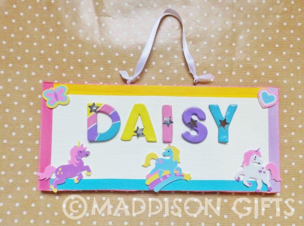 Unicorn Bedroom Door Name Plaque Kids Personalised Pony ...