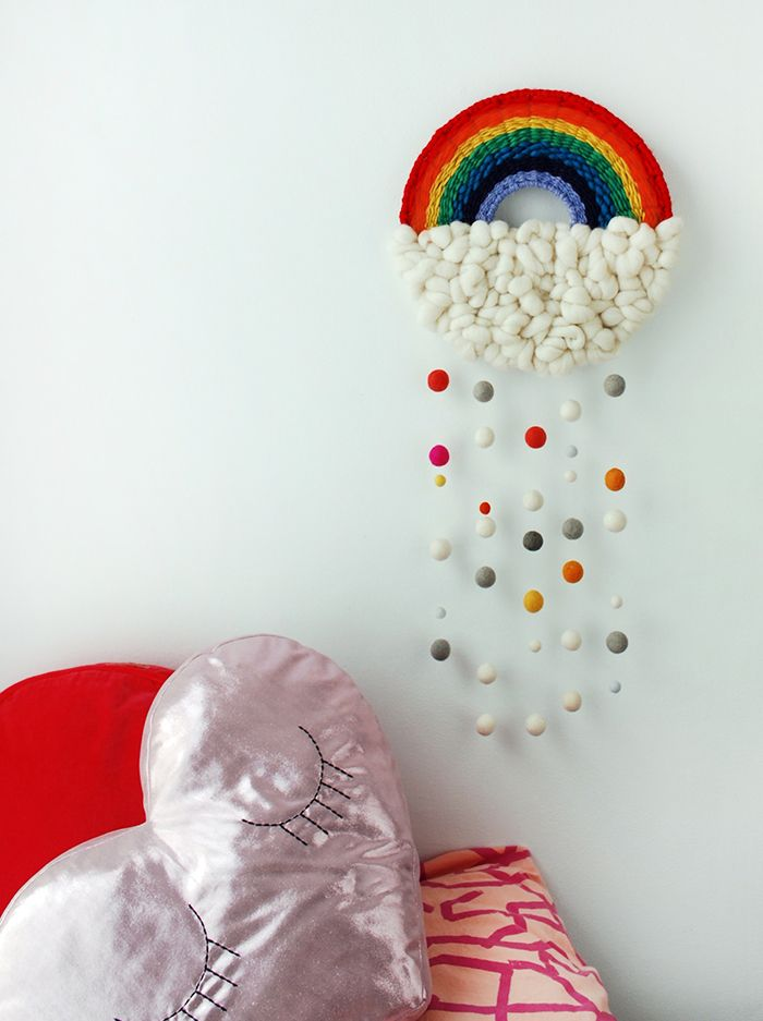 Craft Tutorial Make A Rainbow Weaving Hand Craft Diy Wall Yarn