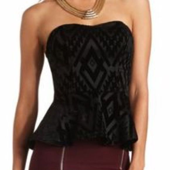 Charlotte Russe Black Strapless Peplum Tube Top S Velvety. Brand new with tags! Charlotte Russe Tops
