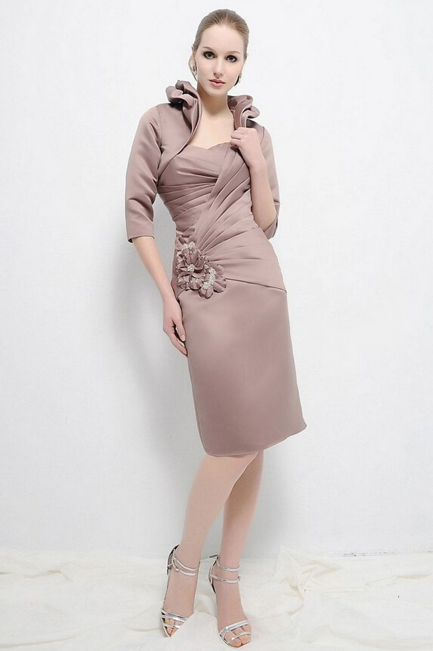 Mother of the bride dresses with jacket knee length sleeveless for