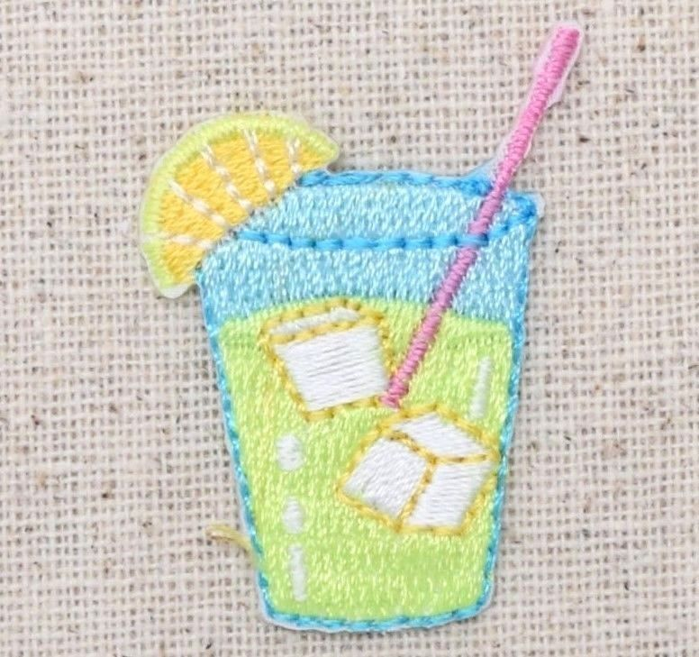 Iron On Embroidered Applique Patch Lemonade Drink Glass with Lemon Slice Wedge