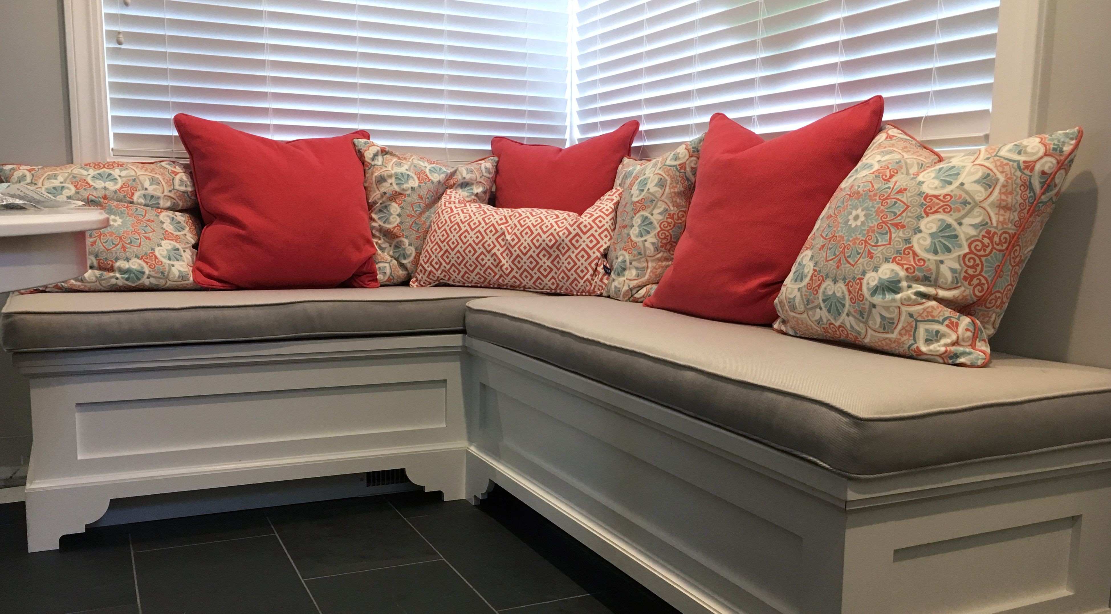 Custom outdoor cushions Grey sofa cushions made with sunbrella