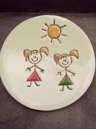 Ceramic Plate Family Dish Mom Daughter Pottery Dad by Ceraminic