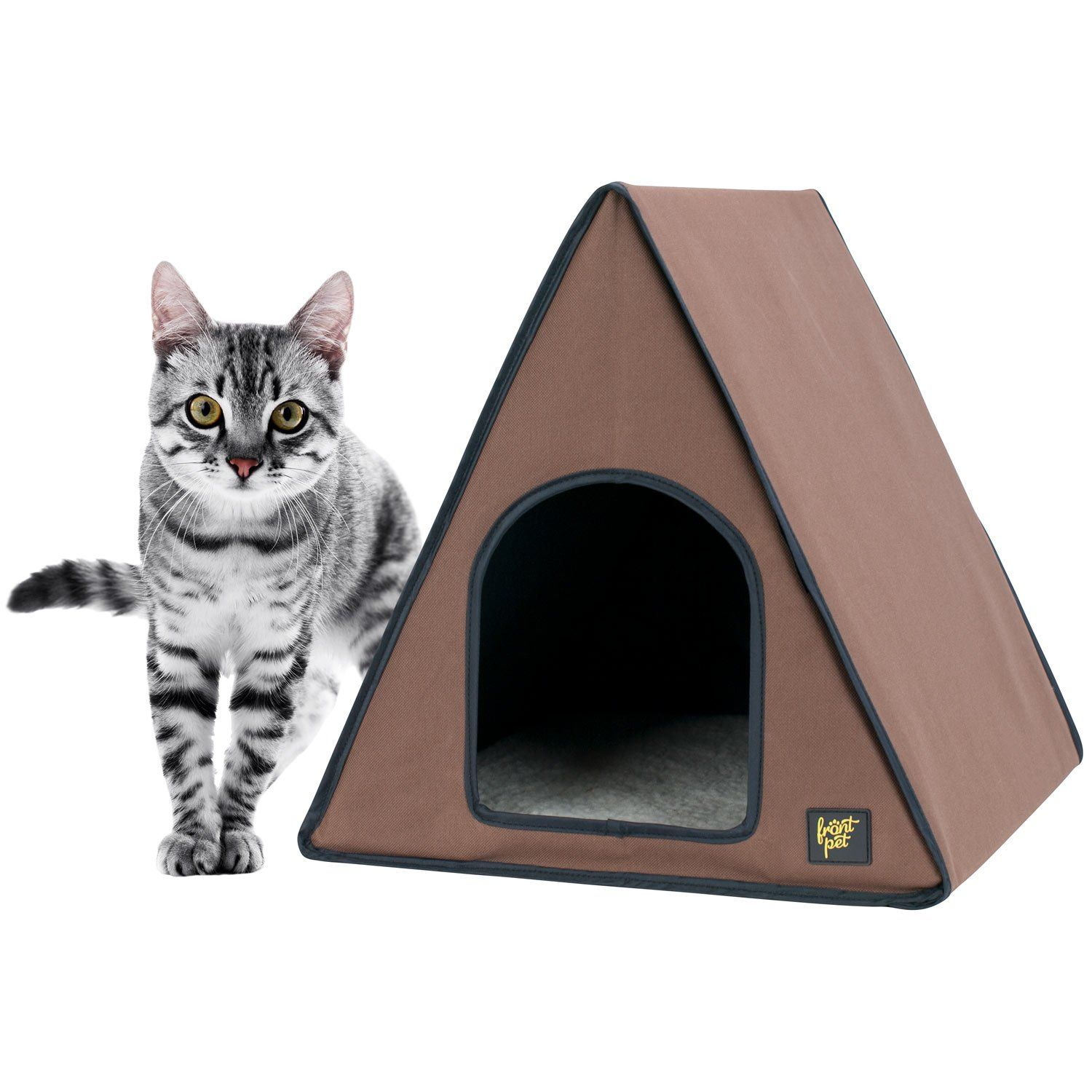 Frontpet A Frame Heated Cat House With Fleece Bed Insert Pad And Protected Double Door Openings Brown Cat House For Indoor Heated Cat House Cat Tent Cat House