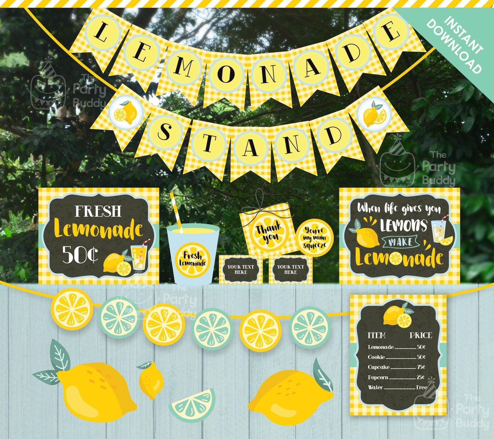 Lemonade Party Printables Package Lemonade Birthday Party Printable Decorations Pink Yellow Banner Cupcake toppers INSTANT DOWNLOAD PDF