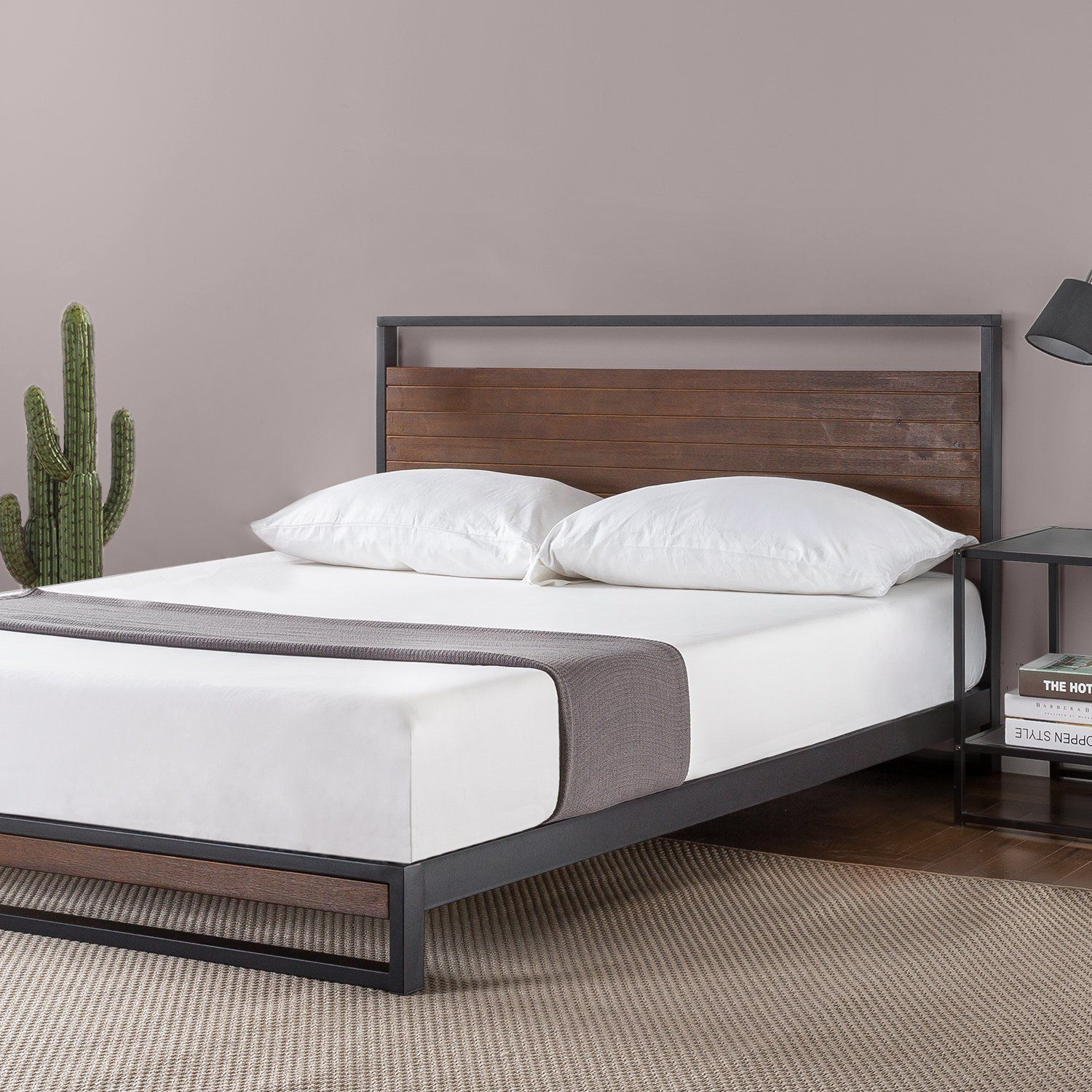 zinus ironline metal and wood platform bed with headboard box