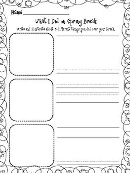 spring break writing prompt teacher ideas for the classroom kindergarten writing classroom. Black Bedroom Furniture Sets. Home Design Ideas