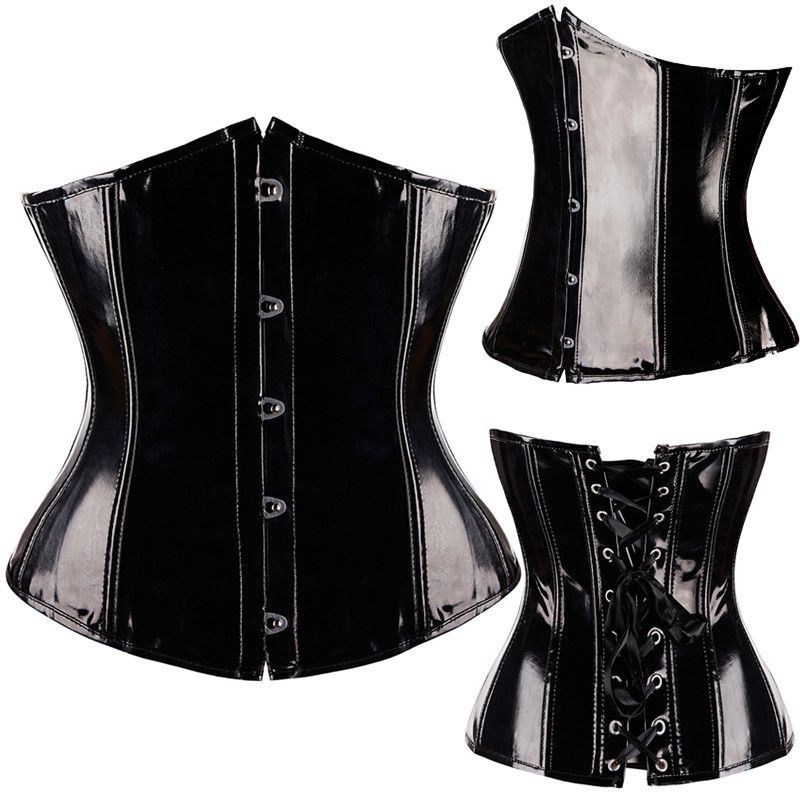 116a95952e Sexy Black Steampunk Faux leather PVC Lace up BONED Gothic Corsets and  Bustiers Lingerie Slimming Body Shaper top