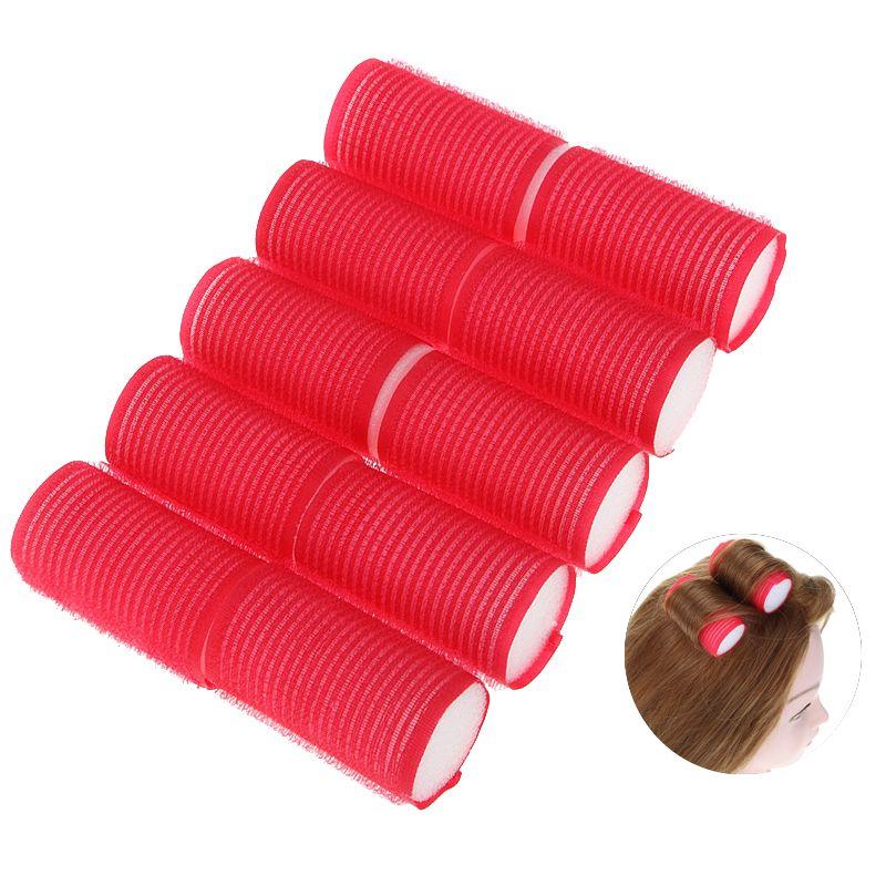 10 stks/set 6X3 cm Rode Plastic Krultangen Kappers DIY Gereedschap Magic Styling Roller Curler Tool Thuisgebruik haar Rollen