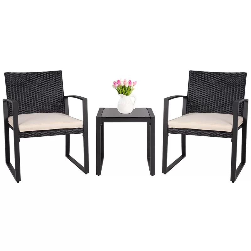 Suzy 3 Piece Bistro Set With Cushions Wicker Patio Furniture Sets Outdoor Wicker Patio Furniture Patio Furnishings