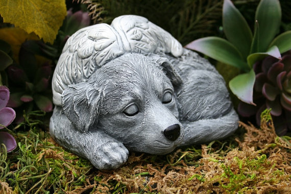 Angel Dog Memorial Golden Retriever Concrete Statue Angel