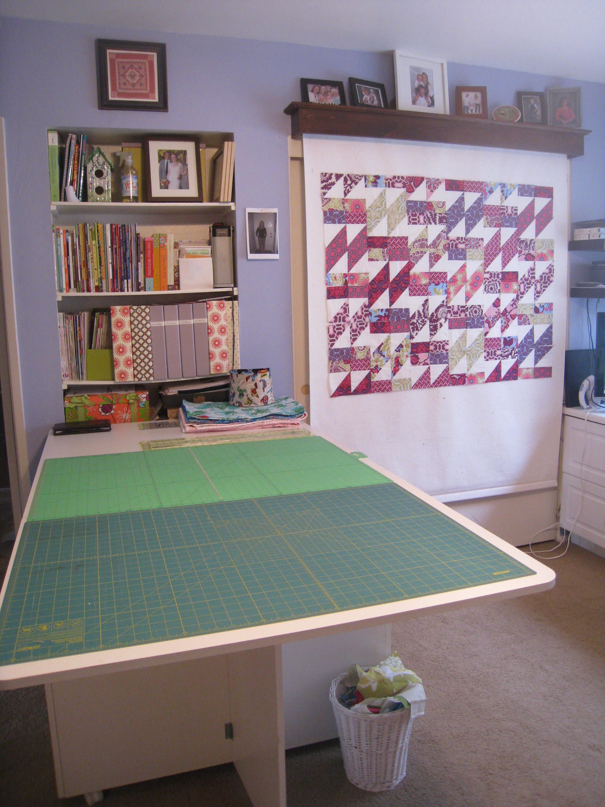 Designing A Sewing Room: My Disappearing Design Wall Over The Closet.