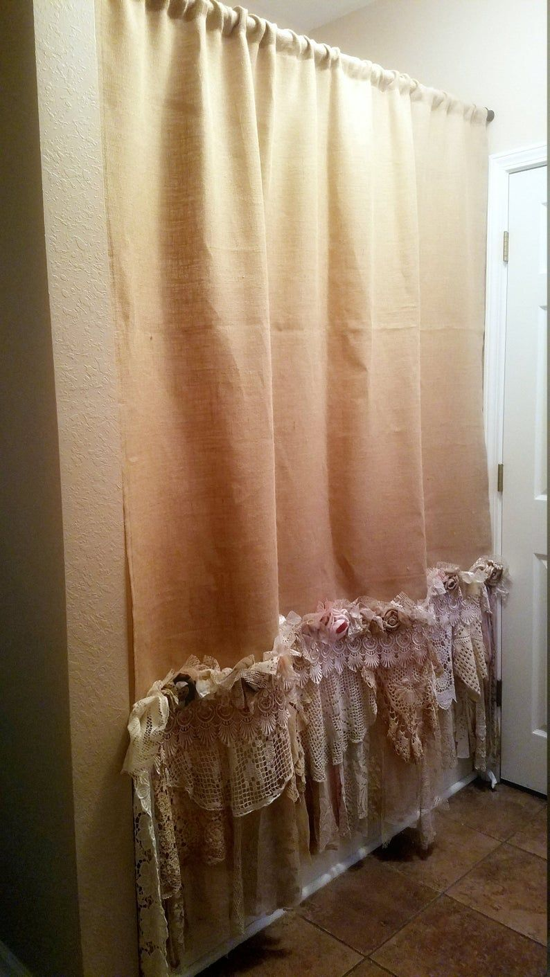 Burlap Vintage Lace Curtains Drapes Panel Boho Made To Order Etsy In 2020 Shabby Chic Curtains Vintage Lace Curtains Shabby Chic Panels