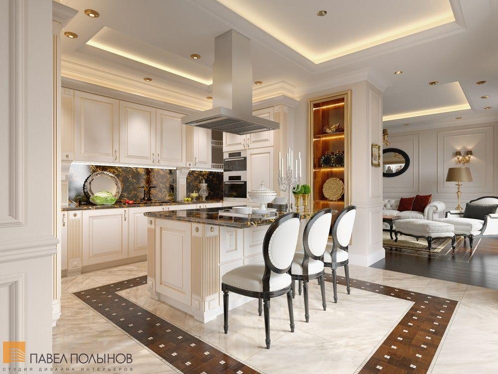 дизайн интерьера кухни с островом и барной стойкой стиль классика