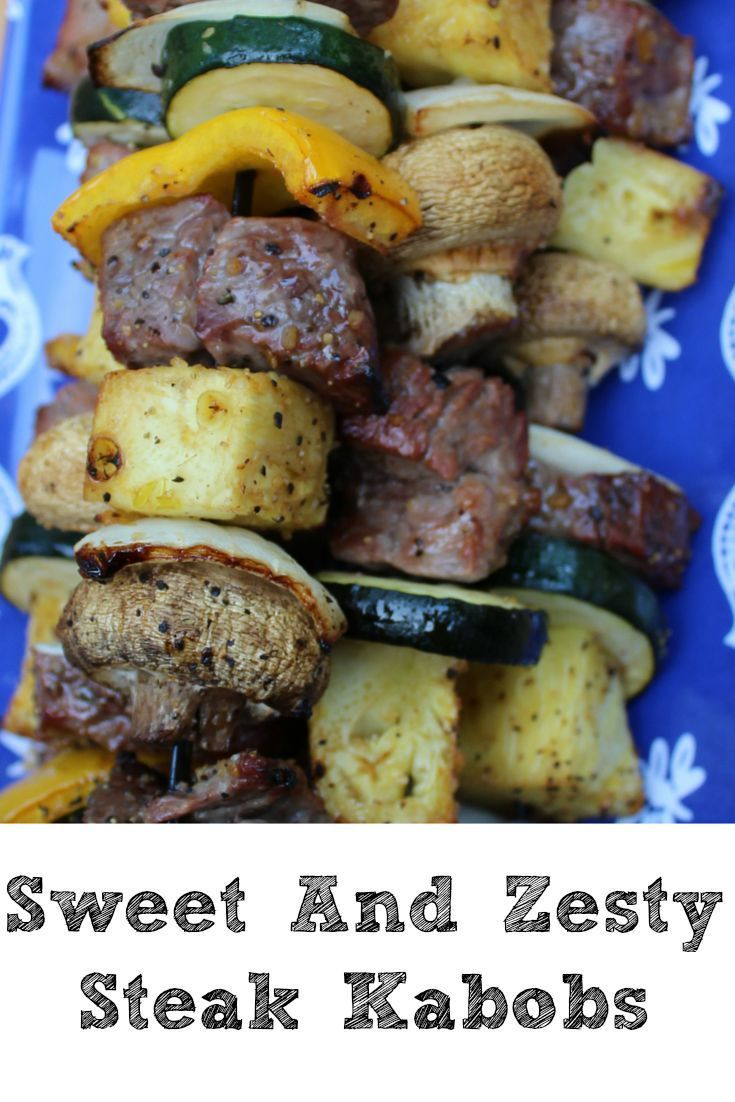 These sweet and zesty steak kabobs are perfect or summer time you can change them up for any vegetable preference for an easy dinner shared at katherines corner forumfinder Choice Image