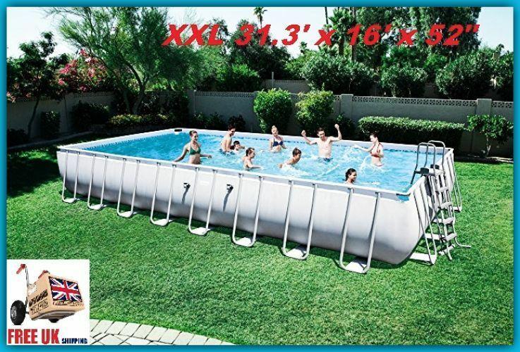 Huge Swimming Pool Set Above Ground Rectangular Garden Cover Ladder Pump Cloth Pool Poolside Abovegroundpool Kids Swimming Pool Hot Tub Swimming Pools Pool