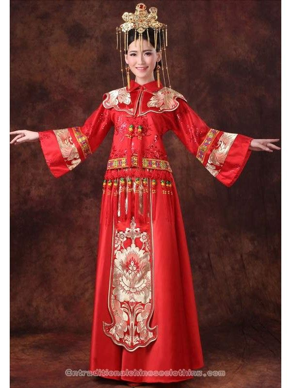 e25ac7aac traditional chinese clothing traditional chinese dress Floral brocade  Chinese knots traditional red Chinese wedding dress Wedding Dresses
