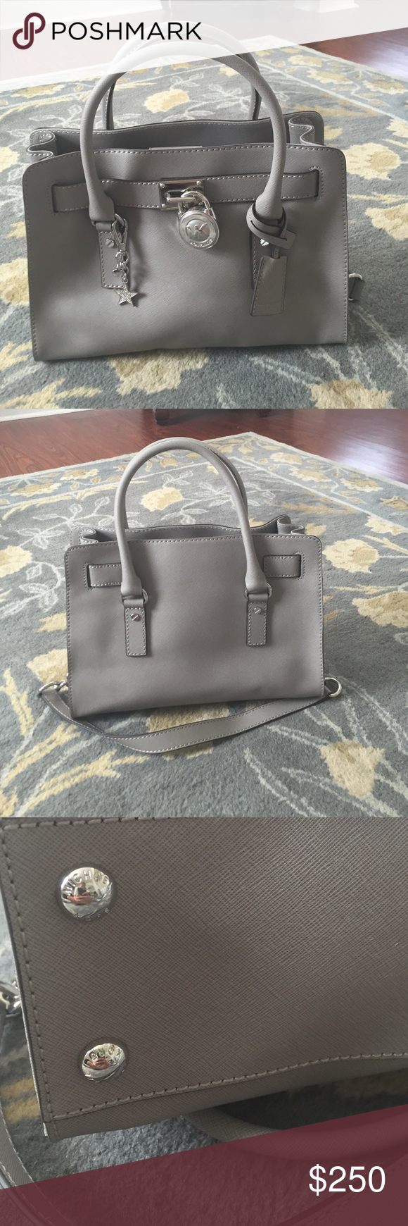 """Michael Kors, the East/West Hamilton satchel Nwot              Features: saffiano leather magnetic snap closure 2 slip pockets and 1 zip pocket inside approx. 12.75(L) x 9(H) x 5.5(D)""""; 5"""" approx. handle drop Imported. Also comes with a Michael Kors star tag that I added on to use with it, but the bag never left the house because I prefer giant bags! Purchased from Macy's and can provide receipt if needed. Michael Kors Bags Satchels"""