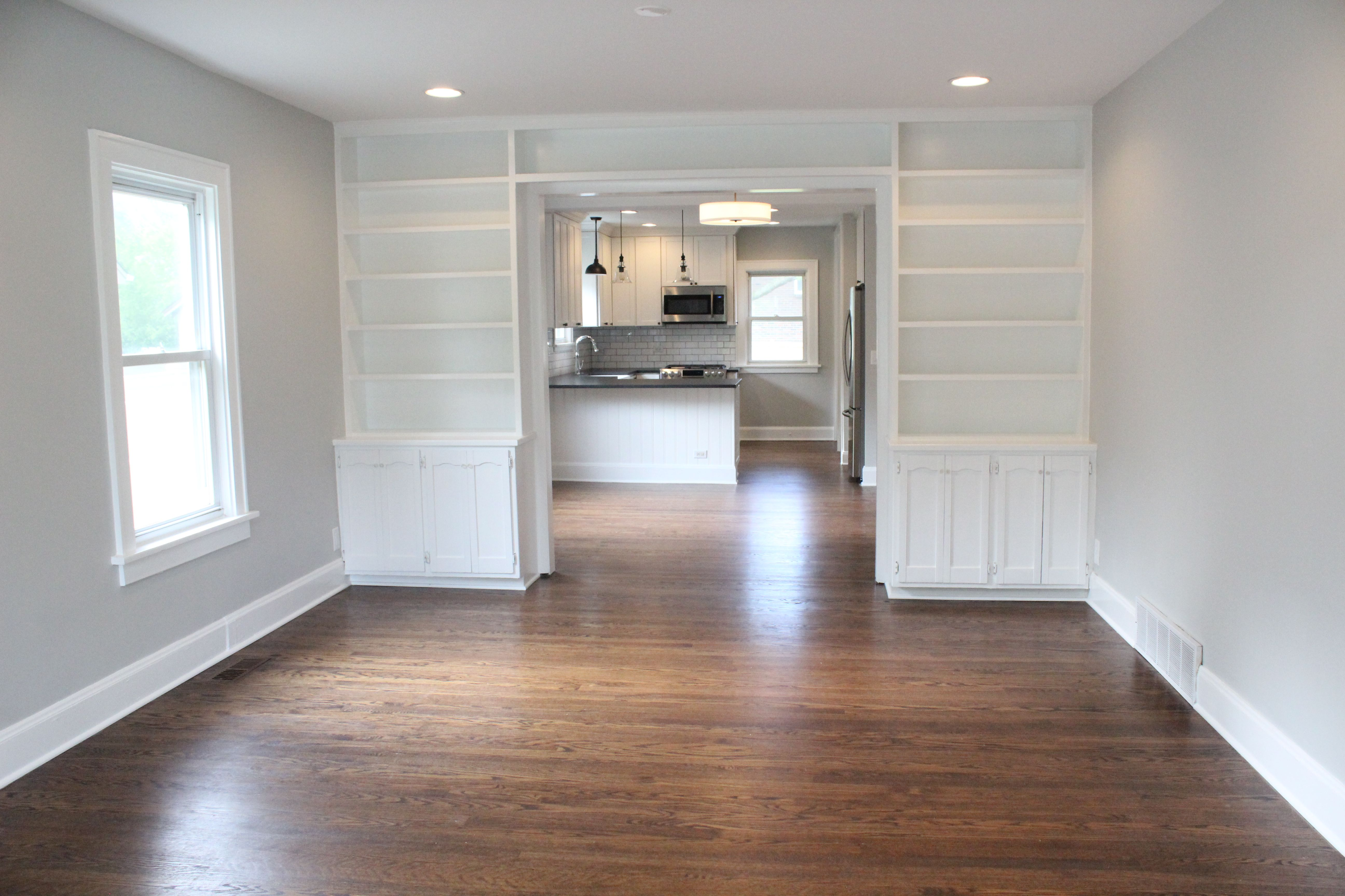 Warm Brown Hardwood Floors Gray Owl Paint White Built Ins Renovated Living Room Vintage Home Brown Floors Brown Living Room Grey Hardwood Floors