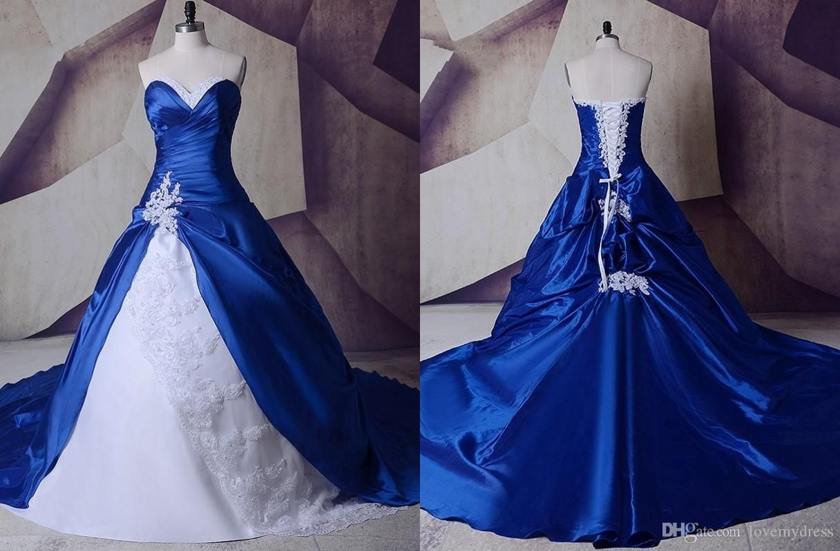 Discount 2018 Royal Blue White Wedding Dresses Real Photos Cheap Applique Beaded Sequined Co Blue Wedding Dress Royal Fairy Wedding Dress White Wedding Dresses