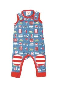 Kneepatch Dungarees - Vintage Blue Road Trip | Organic Baby Boys Dungarees by Frugi | boys 0-3 years | Organic Baby Clothes - Organic Cotton...