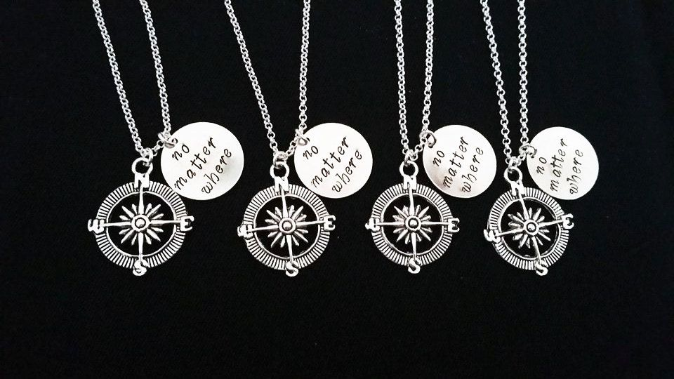 bouquet flower charm necklace bff necklace friendship necklace Best friend necklace initial gift for bridesmaids bridesmaid necklace