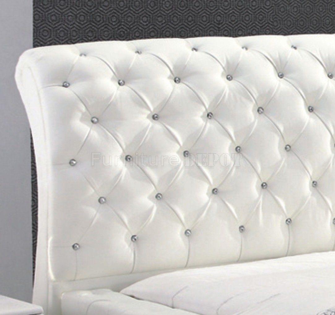 White Leather Tufted Bed | Espaldar Camas | Pinterest | Camas
