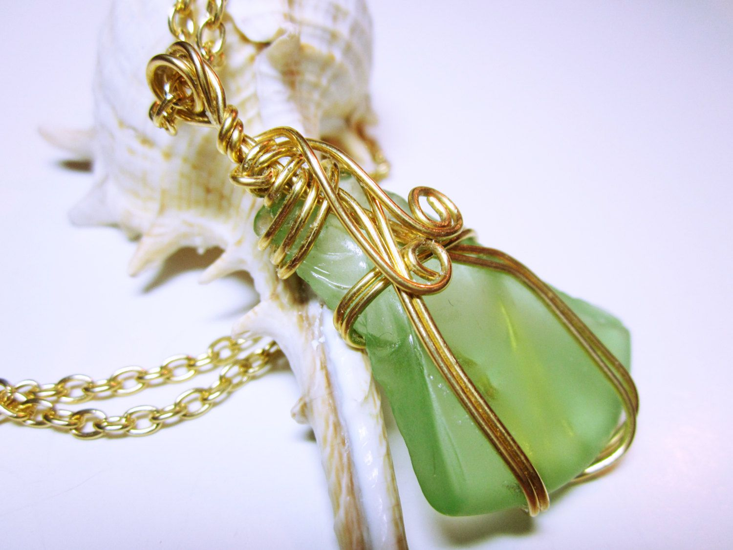 Wire wrapped green sea glass necklace pendantwire wrapped sea glass