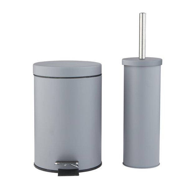 Buy Argos Home Slow Close Bin Amp Toilet Brush Set Flint Grey Bathroom Sets Gray Bathroom