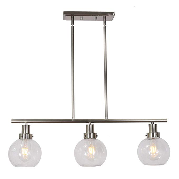 Eluze 3 Light Industrial Pendant Lighting Modern Seeded Glass