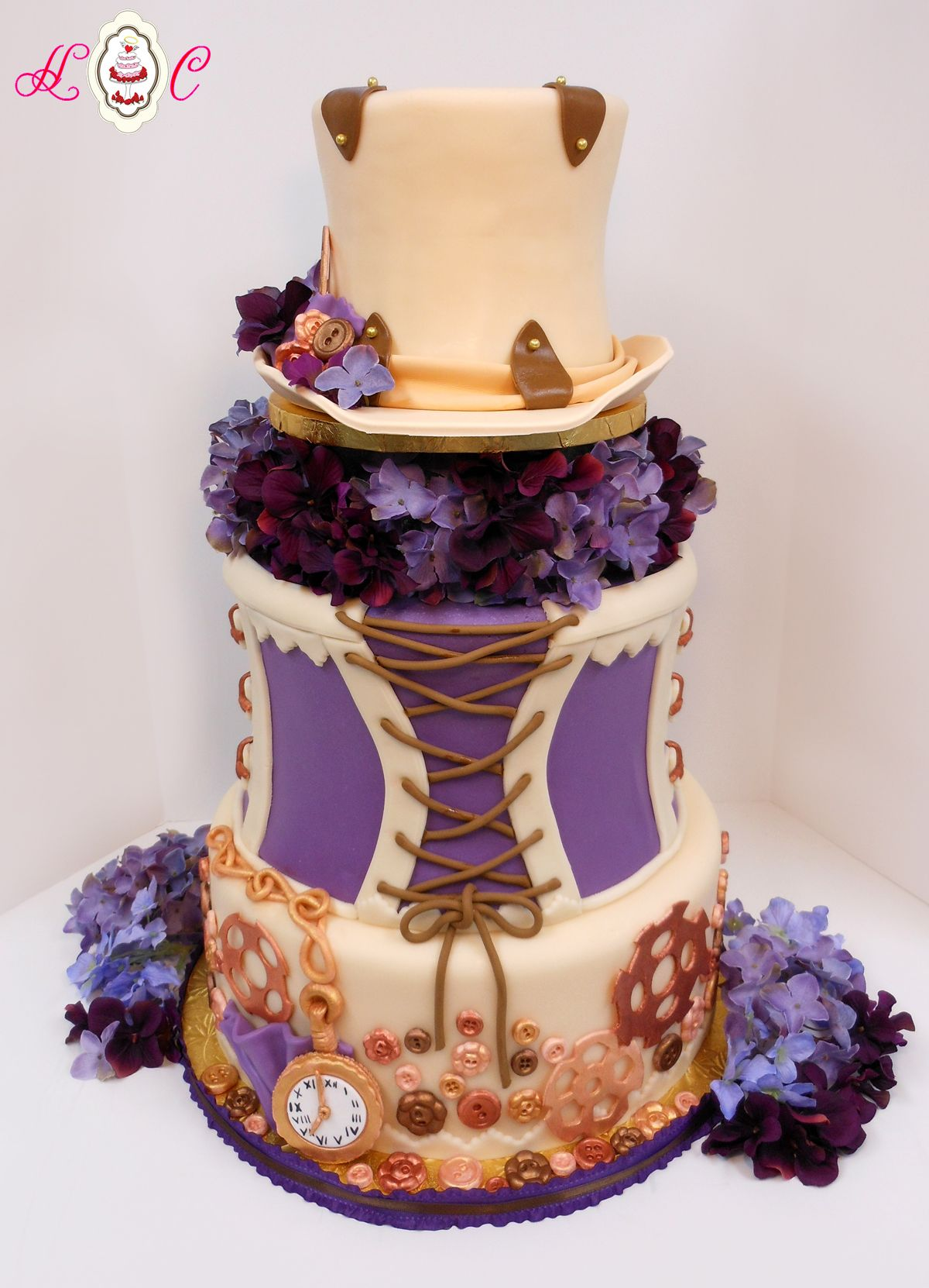 Latest Steampunk Wedding Cakes Cake In Ivory Copper And Purple By Heavenly