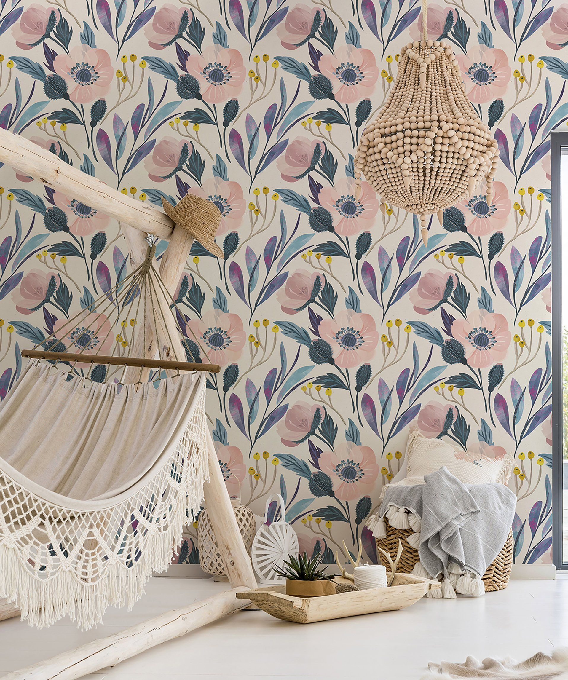 Jane Floral Easy To Apply Removable Peel N Stick Or Etsy Prepasted Wallpaper Removable Wallpaper Fern Wallpaper