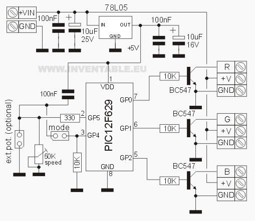 circuito del controlador rgb