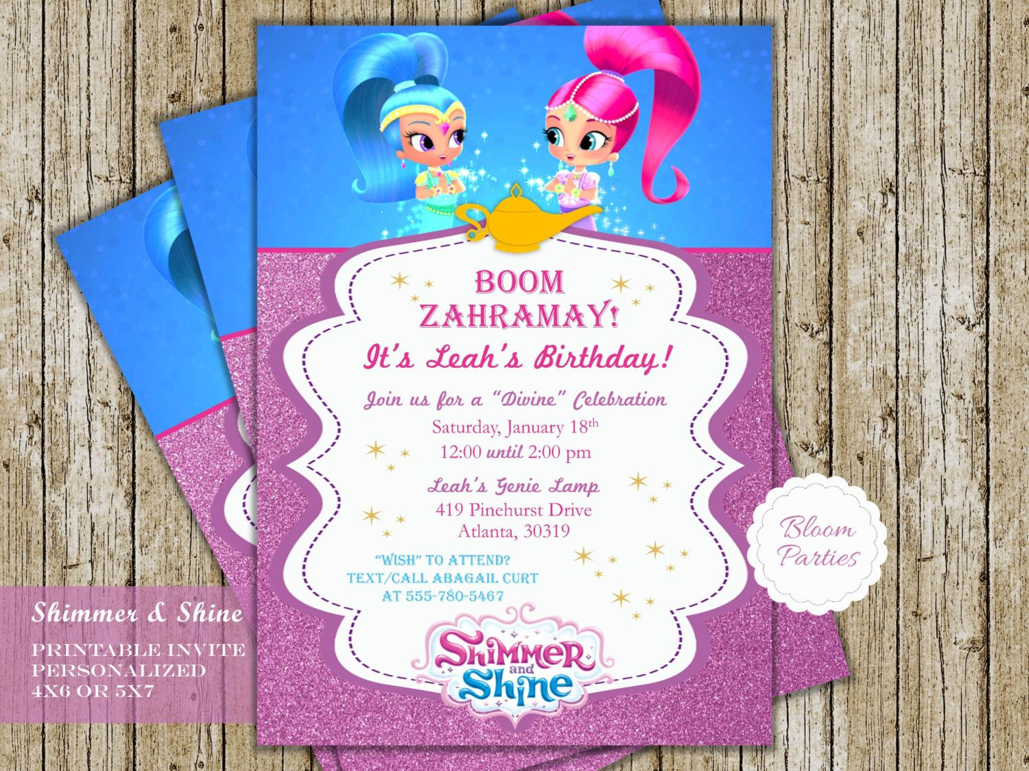 Shimmer And Shine Invitations For Genie Birthday Party