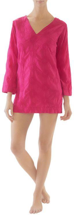 Helen Jon - Embroidered V-Neck Tunic - Bora Bora Sangria - $62.00