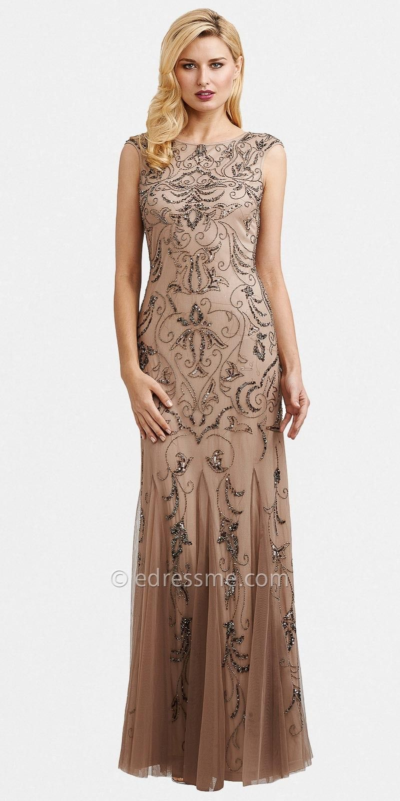 Buff Sheer Beaded Evening Dresses by Adrianna Papell | Our vow ...