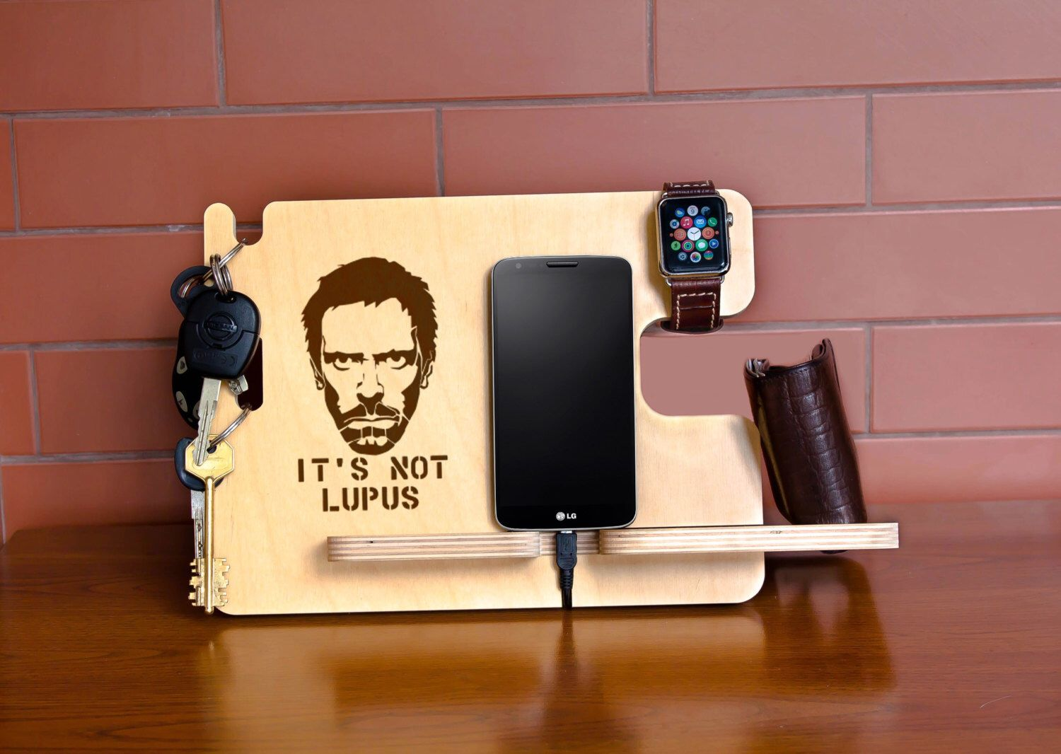 House MD wood dock station, Hugh Laurie gift idea, Gregory House ...