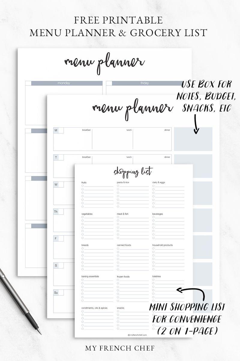 Free Printable Menu Planner  Grocery List  Free Cooking