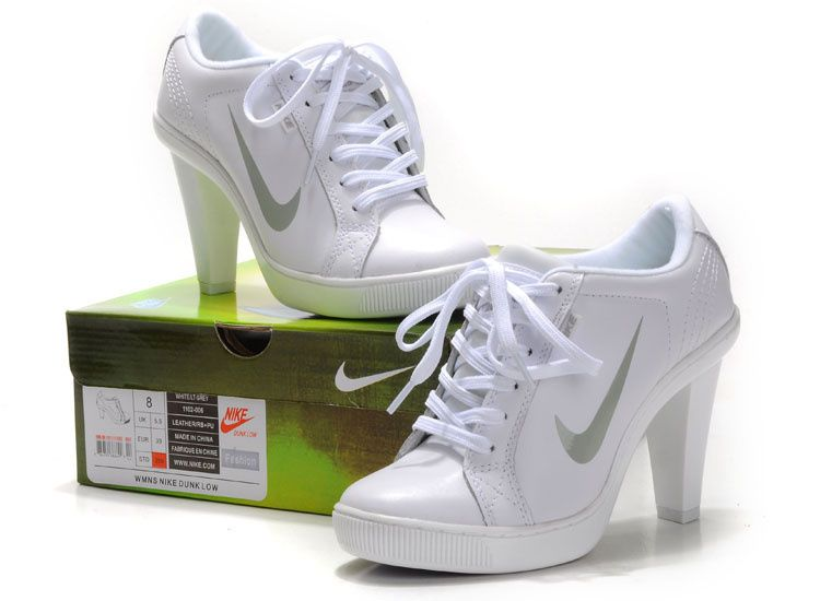 Women's Nike Dunk High Heels Low Shoes White/Grey For Sale,Jordans For Cheap ,Nike Air Max Shoes,Cheap Jordan Shoes